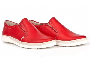 Youth Women's shoes, sneakers, comfortable wzuwane, smooth grain leather - red - Escott