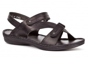 Sandals youth, Velcro, natural leather tile - black - Escott