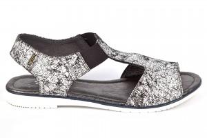 Sandały damskie młodzieżowe, wstawka z gumki, skóra naturalna laminowana czarne w białe kropki Escott Esco Sp. O.o. sklep.escott.eu