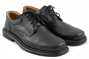 Classic men's formal shoes, smooth leather tile - black - Escott