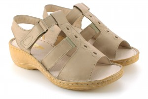 Women's sandals on a low wedge heel, natural leather tile - beige - Escott