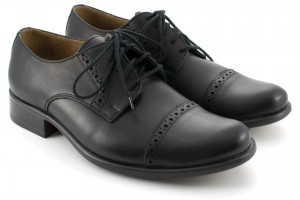 Formal shoes for men Brogsy type, smooth leather, perforated tile - black - Escott