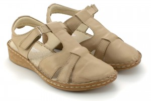 Women's sandals on a flat sole with a covered toe, leather, Velcro - beige - Escott