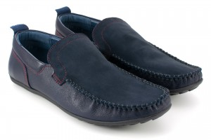 Shoes for men loafers, red stitching, leather and nubuck natural tile - a navy blue - Escott
