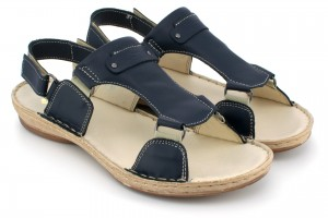 Sandals youth, Velcro, natural leather tile - navy - Escott