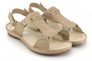 Sandals youth, Velcro, natural leather tile - beige - Escott