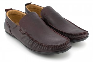 Shoes for men loafers, red stitching, embossed natural leather - burgundy - Escott