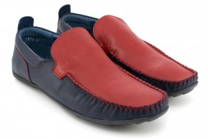 Shoes for men loafers, red stitching, leather and nubuck natural tile - red and garnet - Escott