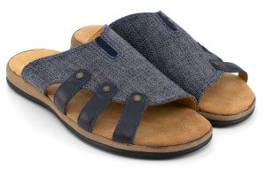 Men's Slippers, blue striped fabric and leather - navy - Escott