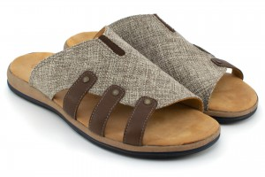 Men's Slippers, fabric lined with leather, leather straps - beige and brown - Escott
