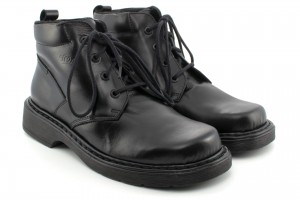 Classic shoes for men with higher uppers, leather, lace - black - Escott