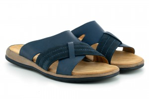 Comfortable and sturdy flip flops for men, natural leather and nubuck facing - Grant - Escott