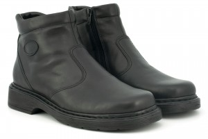 Classic leather men's boots, zippered, padded - black - Escott