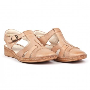 Women's sandals, low wedge, smooth leather tile - beige - Escott
