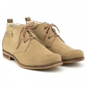 Men's shoes, padded, lace, natural leather nubuck - beige - Escott
