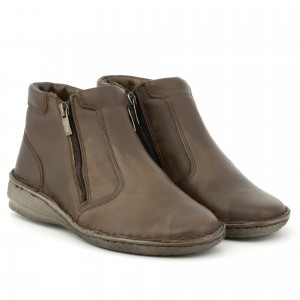 Women's boots fastened with two sliders, natural leather, flat sole - wipe, bronze - Escott