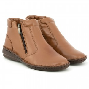 Boots for women, leather-skinned, on a flat sole, ideal for winter, zip - bronze - Escott