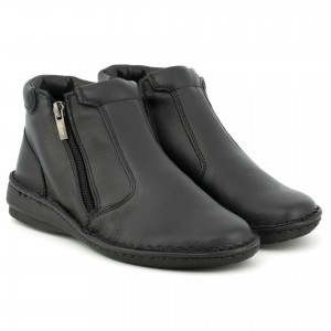 Boots for women, leather-skinned, on a flat sole, ideal for winter, zip - black - Escott