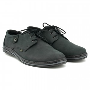 Youth Men's shoes, lace, natural leather nubuck - dark gray - Escott