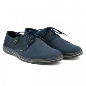 Youth Men's shoes, lace, natural leather nubuck - navy blue - Escott