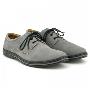 Youth Men's shoes, lace, natural leather nubuck - gray - Escott