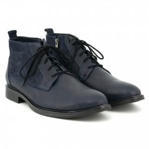 Shoes for men classical, natural leather and tiles inset with nubuck - navy blue - Escott