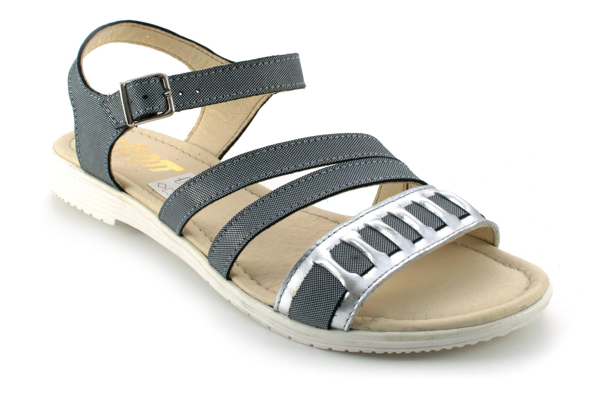 Sandały damskie młodzieżowe, wstawki z gumki, skóra naturalna licowa laminowana beżowy Escott
