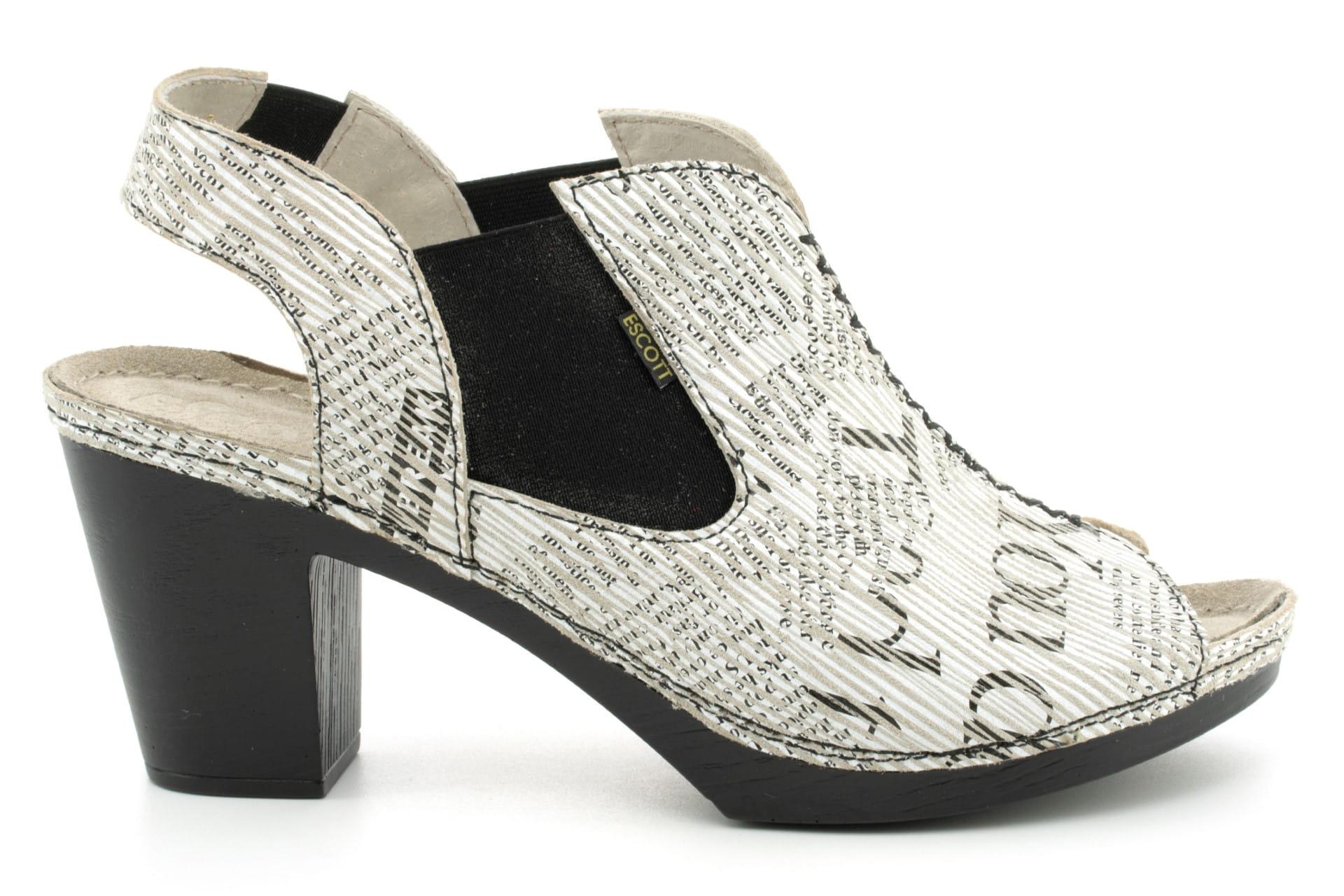 Bardzo wygodne sandały damskie skórzane, galanterki, na wysokim obcasie, wzuwane beżowy, czarny i biały Escott
